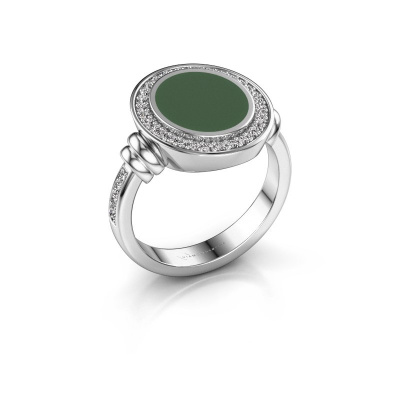 Zegelring Servie 2 950 platina groene emaille 12x10 mm