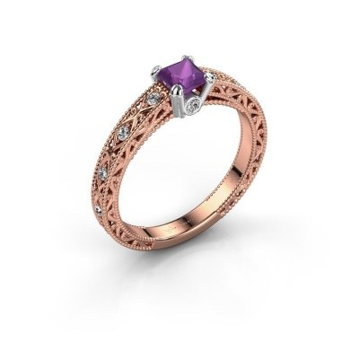 Foto van Verlovingsring Ardella 585 rosé goud amethist 4 mm