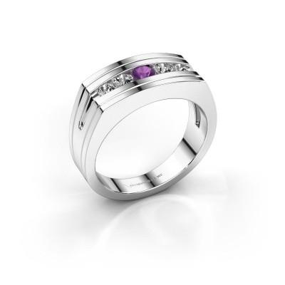 Foto van Heren ring Huub 925 zilver amethist 3.7 mm