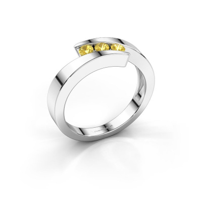 Foto van Ring Gracia 585 witgoud gele saffier 2.7 mm