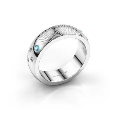 Foto van Ring Minke 950 platina blauw topaas 2 mm
