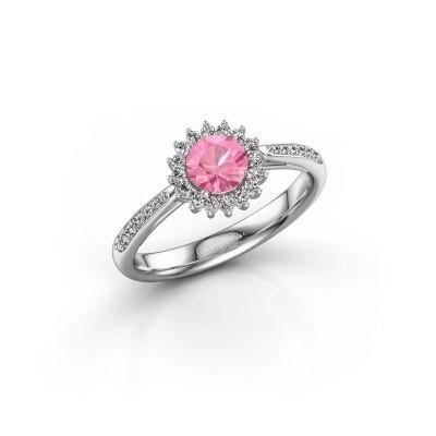 Foto van Verlovingsring Mariska 2 585 witgoud roze saffier 5 mm