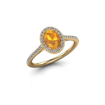 Engagement ring Seline 2 750 gold citrin 7x5 mm