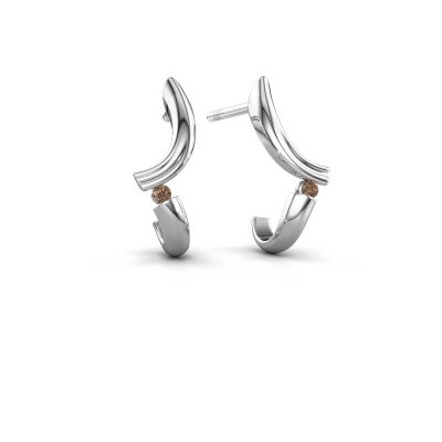Earrings Tish 950 platinum brown diamond 0.03 crt