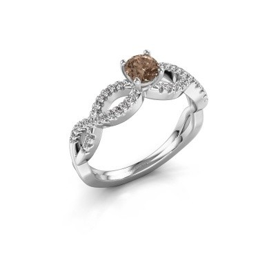 Verlovingsring Hanneke 585 witgoud bruine diamant 0.40 crt