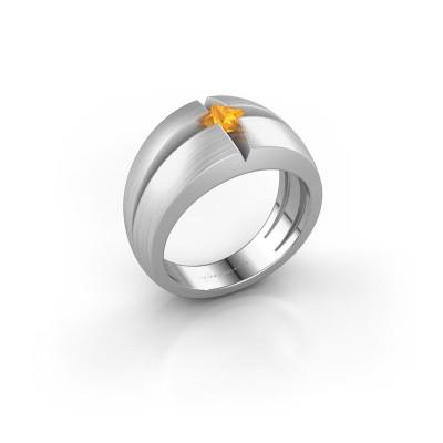 Foto van Heren ring Rens 585 witgoud citrien 3.5 mm