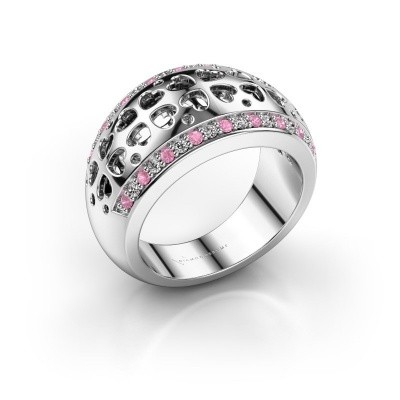 Ring Tirza 585 witgoud roze saffier 1.3 mm