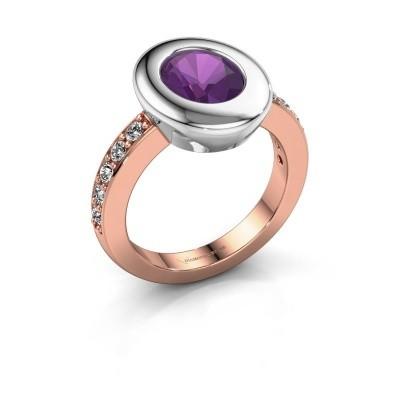 Ring Selene 2 585 rosé goud amethist 9x7 mm