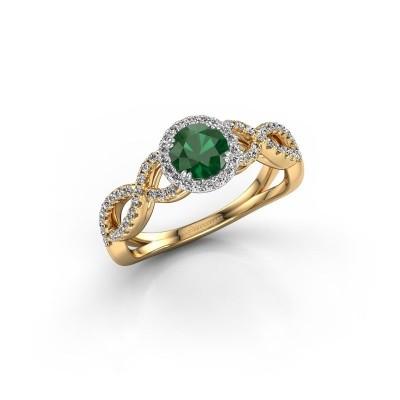 Foto van Verlovingsring Casandra 585 goud smaragd 5 mm