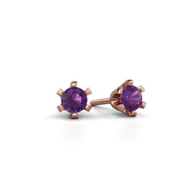 Stud earrings Shana 375 rose gold amethyst 4 mm