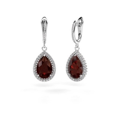 Drop earrings Hana 2 950 platinum garnet 12x8 mm