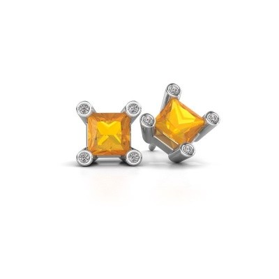 Picture of Stud earrings Cornelia Square 925 silver citrin 6 mm