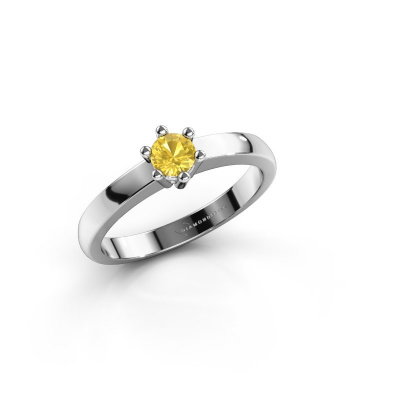 Engagement ring Luna 1 585 white gold yellow sapphire 3.7 mm