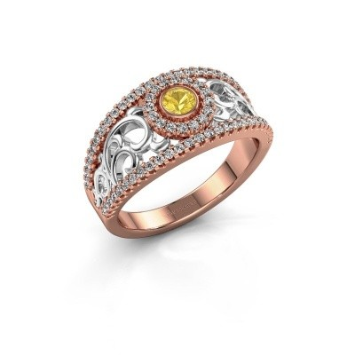 Verlovingsring Lavona 585 rosé goud gele saffier 3.4 mm