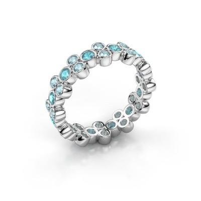 Ring Victoria 585 Weißgold Blau Topas 2.4 mm