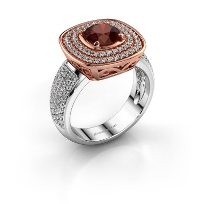 Ring Eliana 585 rosé goud granaat 6 mm