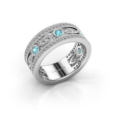 Ring Jessica 585 witgoud blauw topaas 2.5 mm