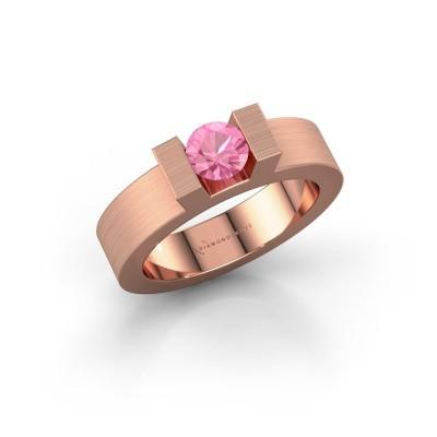 Foto van Ring Leena 1 375 rosé goud roze saffier 5 mm