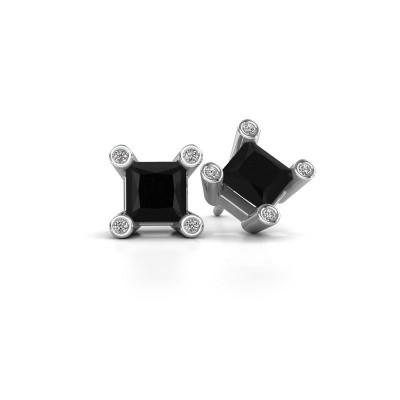 Foto van Oorstekers Cornelia Square 925 zilver zwarte diamant 1.56 crt