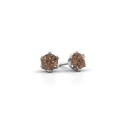 Foto van Oorstekers Fran 585 witgoud bruine diamant 0.40 crt