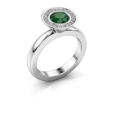 Stapelring Danille 950 platina smaragd 6 mm