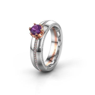 Huwelijksring WH0416L25E 585 rosé goud amethist ±5x2.6 mm