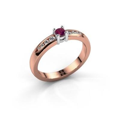 Verlovingsring Zohra 585 rosé goud rhodoliet 3 mm