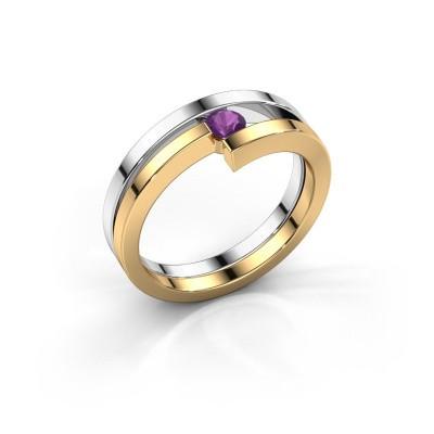 Ring Nikia 585 witgoud amethist 3.4 mm
