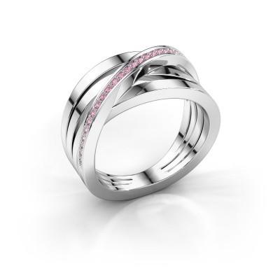 Foto van Ring Esmee 585 witgoud roze saffier 1 mm