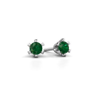 Oorstekers Shana 925 zilver smaragd 4 mm