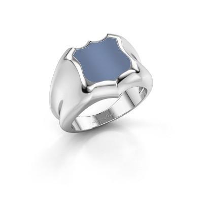 Zegelring Nevin 375 witgoud licht blauwe lagensteen 12x12 mm
