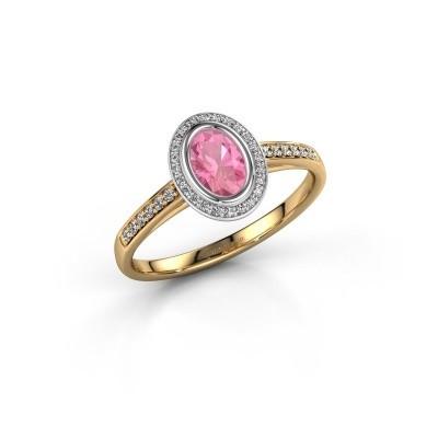 Verlovingsring Noud 2 OVL 585 goud roze saffier 6x4 mm