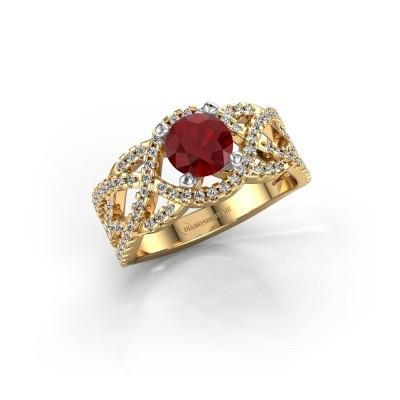 Verlovingsring Jeni 585 goud robijn 6.5 mm