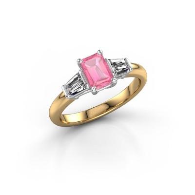 Foto van Verlovingsring Kina EME 585 goud roze saffier 6.5x4.5 mm