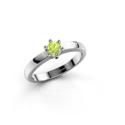 Engagement ring Luna 1 585 white gold peridot 3.7 mm