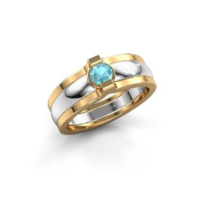 Ring Jade 585 Weißgold Blau Topas 4 mm
