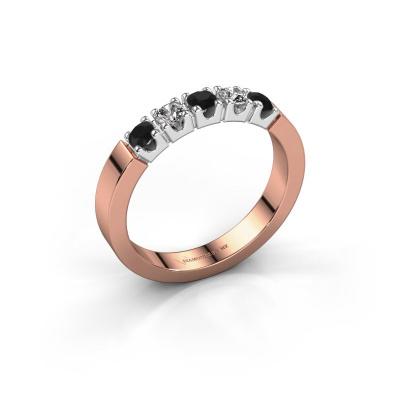 Verlovingsring Dana 5 585 rosé goud zwarte diamant 0.56 crt