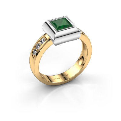 Ring Charlotte Square 585 gold emerald 5 mm