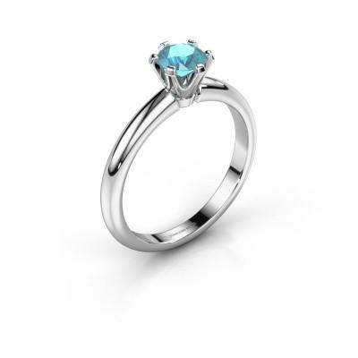 Verlovingsring Tiffy 1 950 platina blauw topaas 5 mm