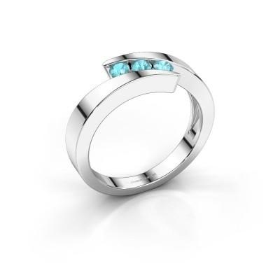 Foto van Ring Gracia 585 witgoud blauw topaas 2.7 mm