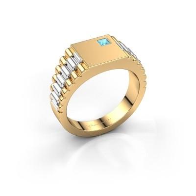 Foto van Heren ring Pelle 585 goud blauw topaas 3 mm