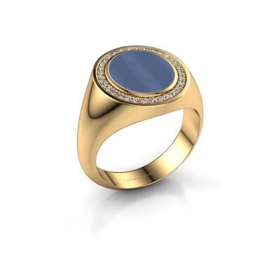 Foto van Zegelring Hilda 2 375 goud blauw lagensteen 12x10 mm