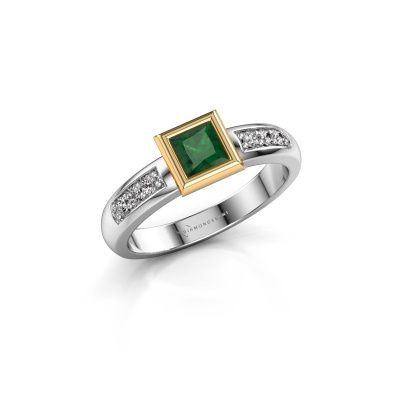 Stacking ring Lieke Square 585 white gold emerald 4 mm