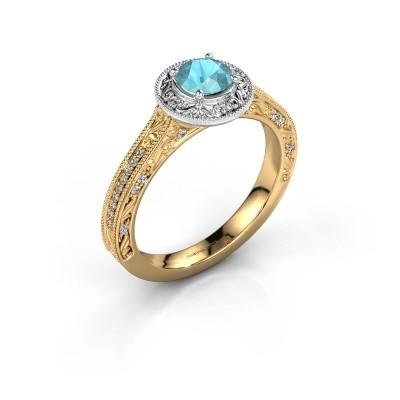 Foto van Verlovings ring Alice RND 585 goud blauw topaas 5 mm