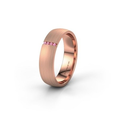 Trouwring WH0154L25XM 375 rosé goud roze saffier ±5x1.4 mm
