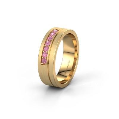 Trouwring WH0312L16AM 585 goud roze saffier ±6x1.7 mm