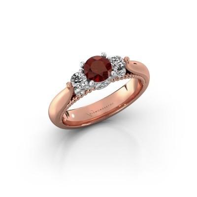 Foto van Verlovingsring Tiffani 585 rosé goud granaat 5 mm