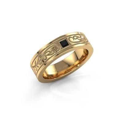 Foto van Heren ring Matijs 375 goud zwarte diamant 0.204 crt