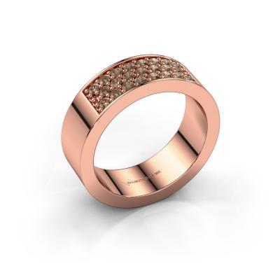 Ring Lindsey 5 585 rosé goud bruine diamant 0.46 crt