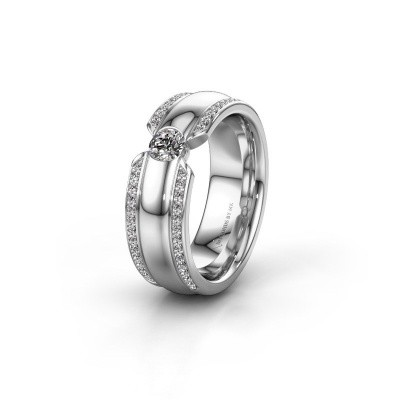 Wedding ring WHR0575L 585 white gold zirconia ±0.28x0.08 in